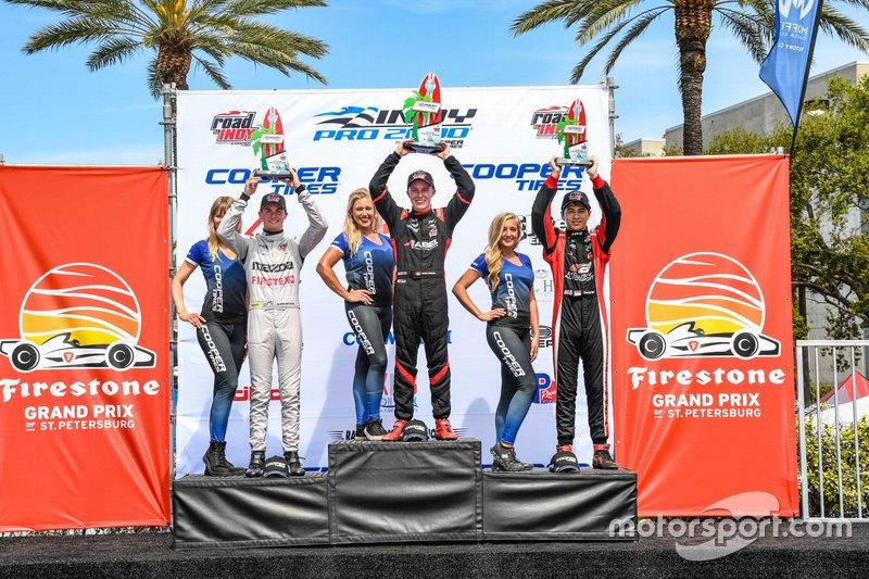 Race 2 winners, Parker Thompson, Kyle Kirkwood, Danial Frost