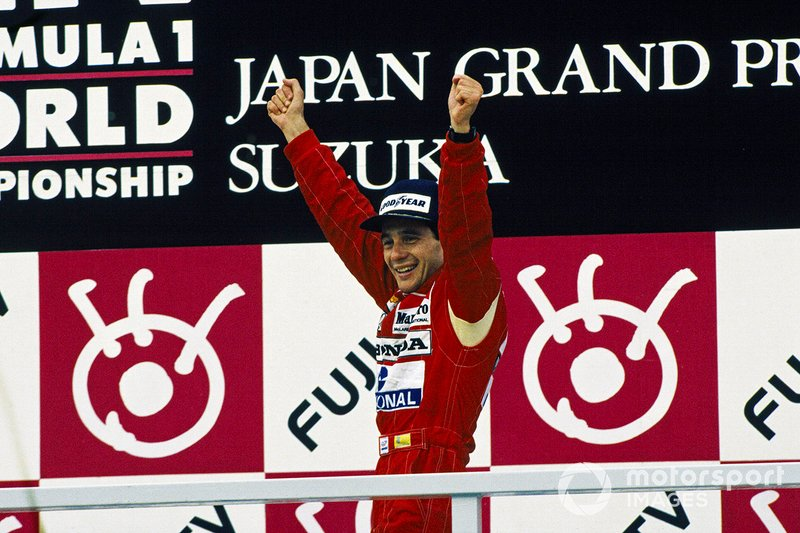 Ayrton Senna, McLaren Honda celebrates on the podium