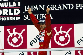 Ayrton Senna, McLaren Honda celebrates on the podium