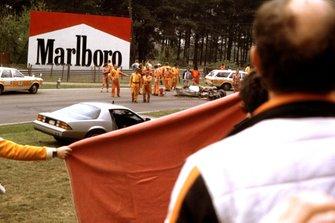 La monoposto di Gilles Villeneuve, Ferrari 126C2, dopo l'incidente