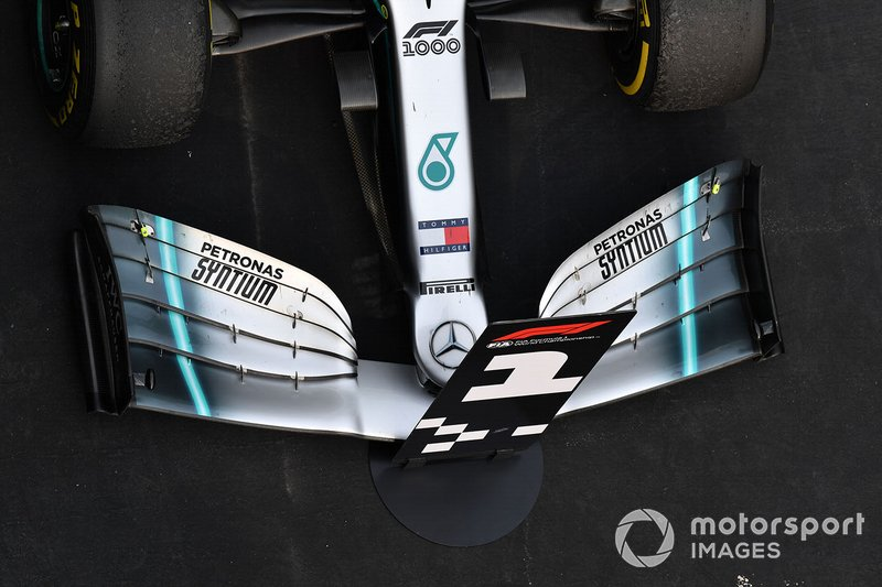 The front wing of the winning car of Lewis Hamilton, Mercedes AMG F1 W10, 1st position
