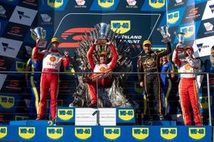 Podium: race winner Fabian Coulthard, DJR Team Penske Ford, second place Scott McLaughlin, DJR Team Penske Ford, third place Andre Heimgartner, Kelly Racing Nissan