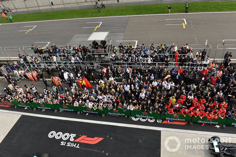 Team members gathered for the podium ceremony
