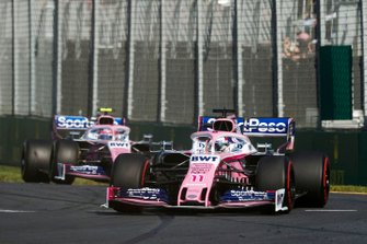 Sergio Perez, Racing Point RP19, devant Lance Stroll, Racing Point RP19