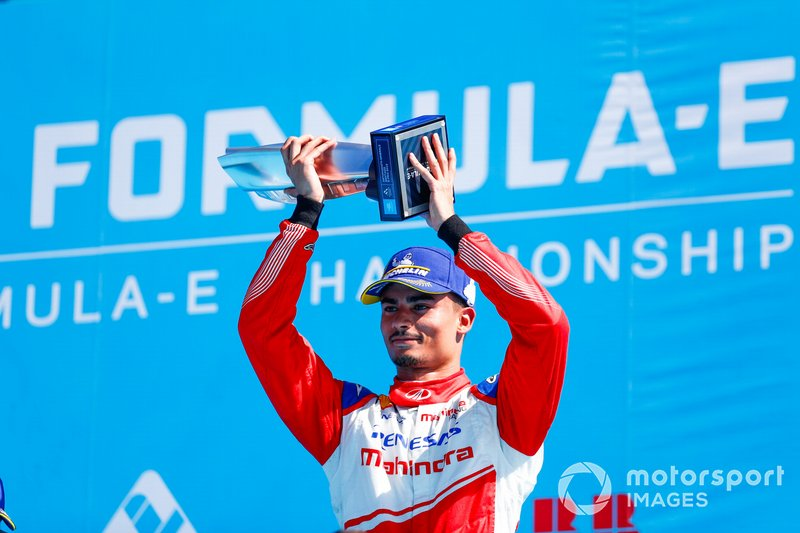 Pascal Wehrlein, Mahindra Racing, celebrates 2nd position on the podium