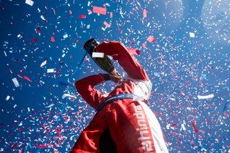 Pascal Wehrlein, Mahindra Racing, festeggia il suo primo podio