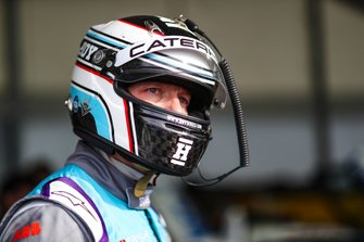 Olympic gold medalist Sir Chris Hoy prepares to drive the Formula E track car
