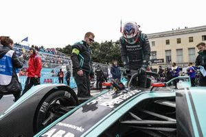 Mitch Evans, gets out of his Panasonic Jaguar Racing Jaguar I-Type 3 on the grid