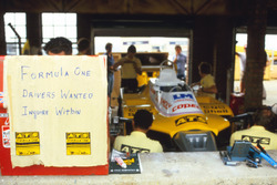 The ATS team advertise for Formula One drivers in the pitlane as a result of the drivers strike