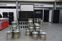 Mercedes AMG F1 garage and wheel rims