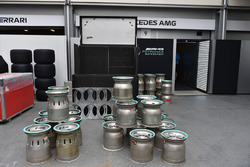 Mercedes AMG F1 garage and wheel rims
