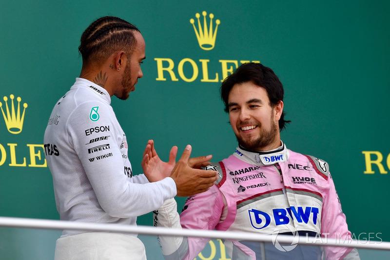 Podium: race winner Lewis Hamilton, Mercedes-AMG F1 and third place Sergio Perez, Force India