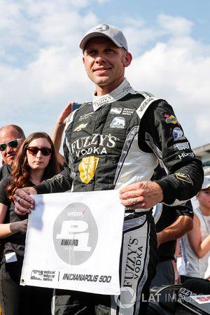 Ed Carpenter, Ed Carpenter Racing Chevrolet celebrates winning the Verizon P1 Pole Award