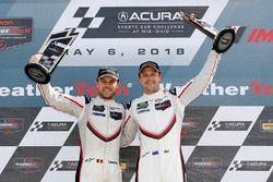 #912 Porsche Team North America Porsche 911 RSR, GTLM: Laurens Vanthoor, Earl Bamber, podium