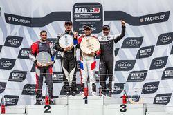 Podium: Race winner Rob Huff, Sébastien Loeb Racing Volkswagen Golf GTI TCR, second place Daniel Nagy, M1RA Hyundai i30 N TCR, third place Yvan Muller, YMR Hyundai i30 N TCR