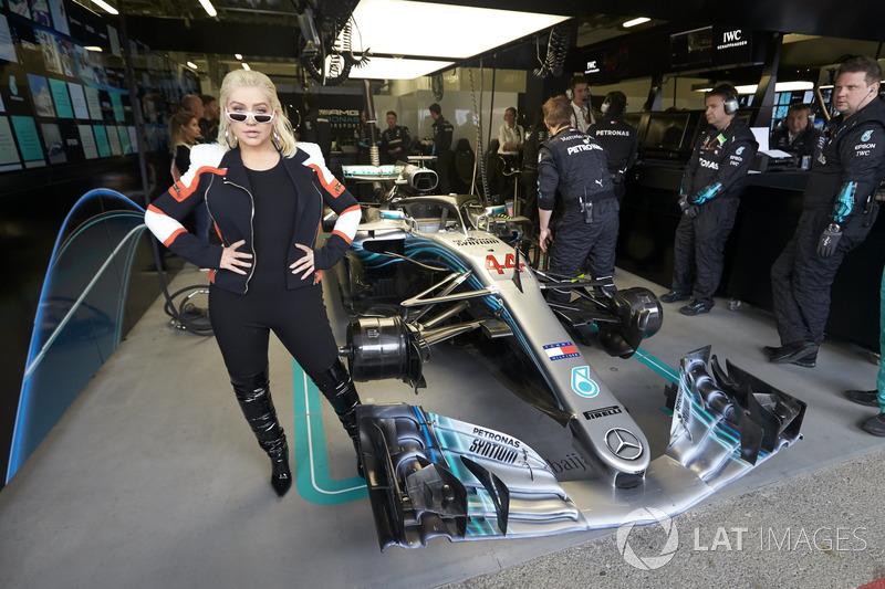 Singer Christina Aguilera in the Mercedes garage