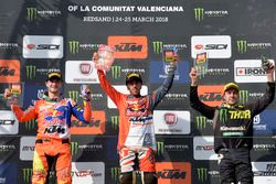 Il podio con Jeffrey Herlings, Red Bull KTM Factory, Antonio Cairoli, Red Bull KTM Factory e Clement Desalle, Monster Kawasaki