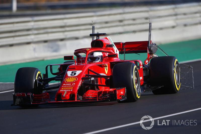 Sebastian Vettel, Ferrari SF71H con un rastrello di sensori