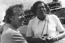 NASCAR car owner Bud Moore talks with the United States President Jimmy Carter