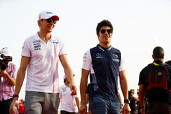 Esteban Ocon, Force India, and Lance Stroll, Williams Racing, in the drivers parade