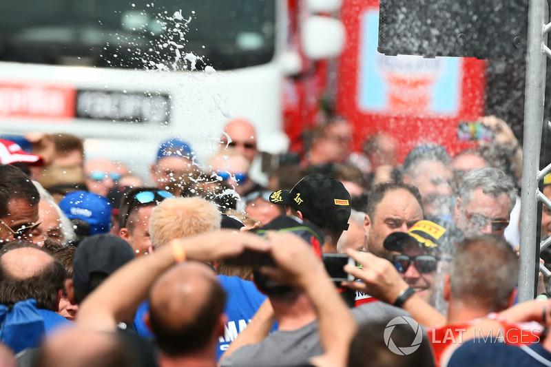 Race winner Michael van der Mark, Pata Yamaha, Andrea Dosoli, third place Jonathan Rea, Kawasaki Racing