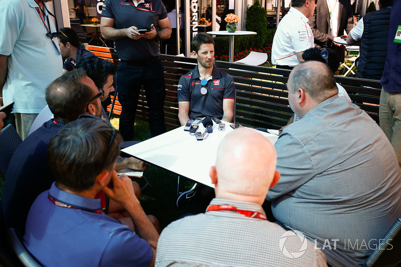 Romain Grosjean, Haas F1 Team, speaks to the media