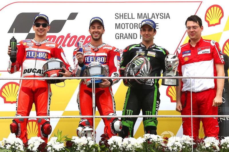 Podio: il vincitore della gara Andrea Dovizioso, Ducati Team, il secondo classificato Jorge Lorenzo, Ducati Team, il terzo classificato Johann Zarco, Monster Yamaha Tech 3