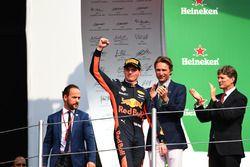 Race winner Max Verstappen, Red Bull Racing celebrates on the podium