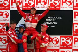 Podium: race winner Felipe Massa, Ferrari, second place Fernando Alonso, Renault, third placeMichael Schumacher, Ferrari, Rob Smedley, Ferrari