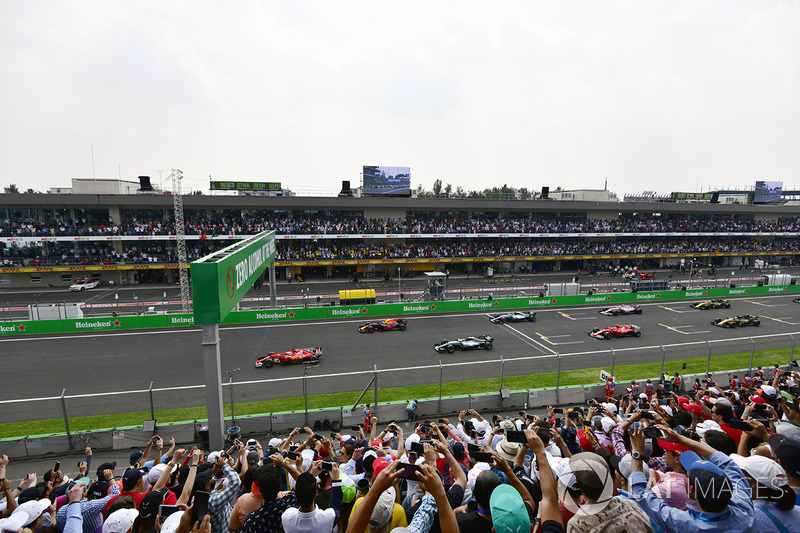 Sebastian Vettel, Ferrari SF70H leads at the start of the race
