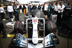 The Mercedes AMG F1 W09 of Lewis Hamilton on the grid