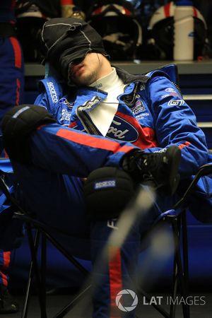 Ford Chip Ganassi Racing team member sleeps