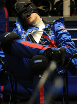 Ford Chip Ganassi Racing team member sleeps