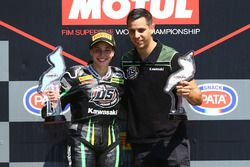 Podium: race winner Ana Carrasco, David Salom