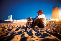 Lewis Hamilton, Mercedes-Benz F1 with Roscoe on the beach