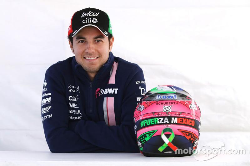 Sergio Perez, Sahara Force India F1 avec son nouveau casque