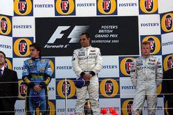 Podium: second place Fernando Alonso, Renault F1 Team, Race winner Juan Pablo Montoya, McLaren, third place Kimi Raikkonen, McLaren