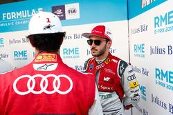 Lucas di Grassi, Audi Sport ABT Schaeffler, talking to Daniel Abt, Audi Sport ABT Schaeffler, in the media pen