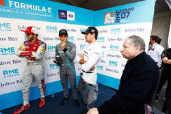 Daniel Abt, Audi Sport ABT Schaeffler, Mitch Evans, Jaguar Racing, Nelson Piquet Jr., Jaguar Racing, Jean Todt, Presidente FIA, nel media pen
