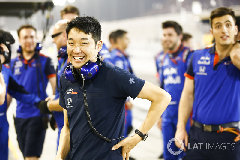 The Toro Rosso team celebrate a 4th place finish