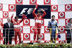 Podium: second place Felipe Massa, Ferrari, Race winner Michael Schumacher, Ferrari, third place Gia