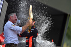 Max Verstappen, Red Bull Racing and Sebastian Jonathan Wheatley, Red Bull Racing Team Manager celebrate on the podium with the champagne and the trophy