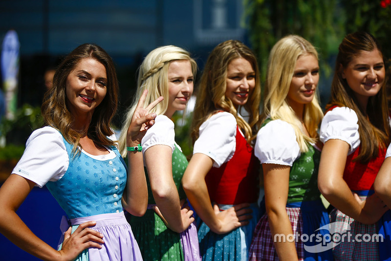 Austrian girls in dirndls strike a pose