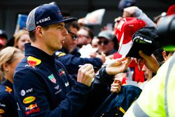 Max Verstappen, Red Bull Racing, signs autographs for fans