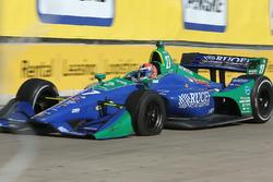 Alexander Rossi, Andretti Autosport Honda met een lekke band
