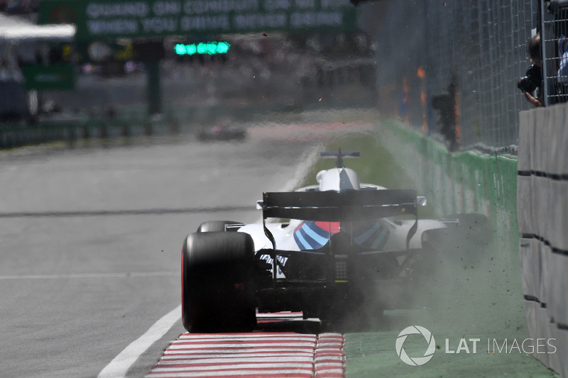 Lance Stroll, Williams FW41 percute le mur des Champions