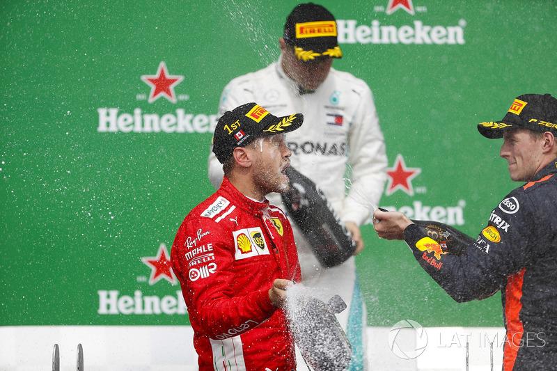 Max Verstappen, Red Bull Racing, tercero, baña con champagne a Sebastian Vettel, Ferrari, ganador