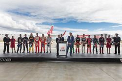V8 Supercars CEO James Warburton with Virgin Australia Group CEO John Borghett with the drivers