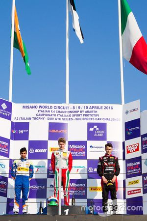 Rookie podium race 4: winner Juri Vips, Prema Powerteam, second place Kush Maini, BVM Racing, third