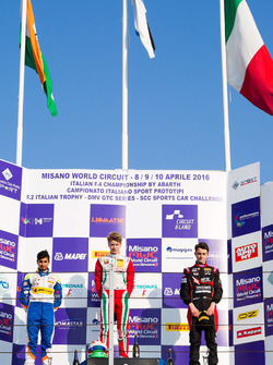 Rookie podium race 4: winner Juri Vips, Prema Powerteam, second place Kush Maini, BVM Racing, third place Giacomo Altoè, Bhaitech Srl